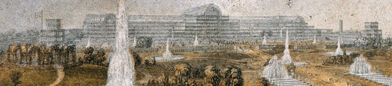 George Baxter 1854 CL193 The Crystal Palace and Gardens. Close-up of Crystal Palace glasshouse. Note the water towers on either side of the glasshouse. These were replaced.