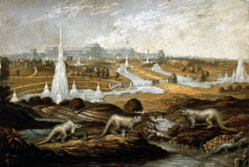 George Baxter's famous print shows the Crystal Palace Park as conceived prior to its opening in 1854. This landscape for dinosaurs imagines a tour underway.