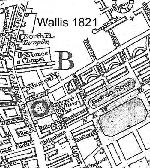 "Map. Wallis 1821, showing definition of Euston Square and Euston Grove along the Paddington to Islington Road, now ""New Road"". Railway terminus not yet complete. Similar to Wallis 1826."