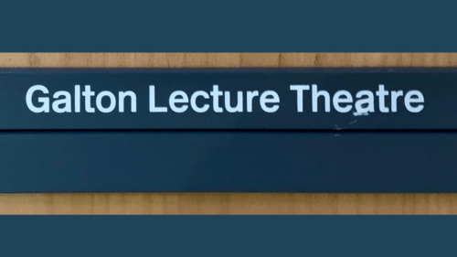 UCL Galton Lecture Theatre - plaque on door - ProfJoeCain