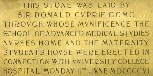 Commemorative plaque for Sir Donald Currie in Lewis Room, UCL Rockefeller Building, Gower Street, London