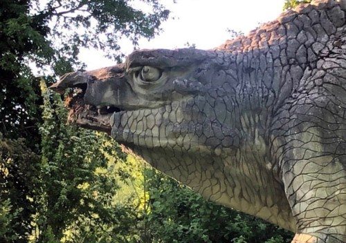 Damage to Megaloceros jaw reported on Instagram and Twitter, 23 May 2020. Crystal Palace Dinosaurs, Crystal Palace Park, London