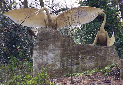 Pterodactyl (Wealden) statues in Crystal Palace Dinosaurs in 2005 | ProfJoeCain