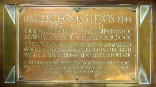 Commemorative plaque for Sir Thomas Lewis in Rockefeller Building, UCL, Gower Street, London, United Kingdom