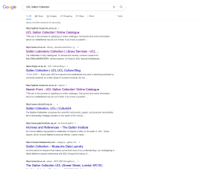 """Figure 1. First page of results from Google search for """"UCL Galton Collection"""" as viewed 9 July 2021."""