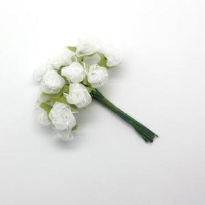 Flores mini em tecido branco 144 un