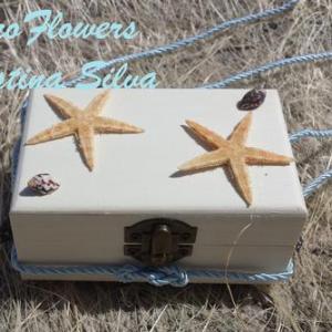 Porta alianças em caixa de madeira Mar