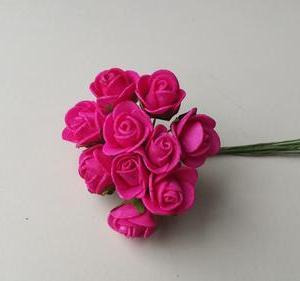 Flores mini em foam rosa fushia 2cm de diametro