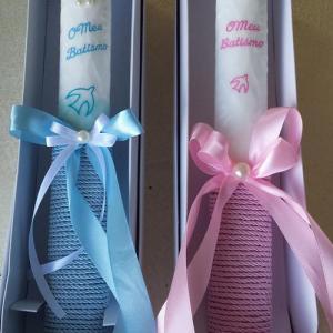 Vela Batismo com cordão rosa, azul ou creme 30cm