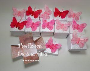 Convite caixa com foto tema borboletas 1