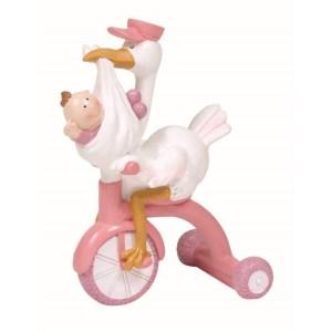 Topo bolo cegonha na bicicleta com bebé