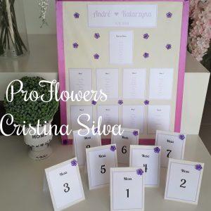 Placard com marcadores de mesa