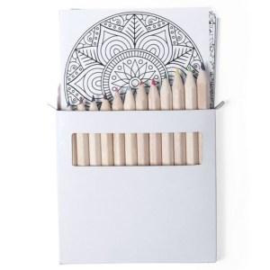Conjunto 12 lápis de cor + bloco para colorir