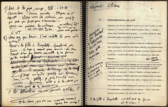 """Page du scénario de """"La Nuit américaine"""" de Truffaut"""