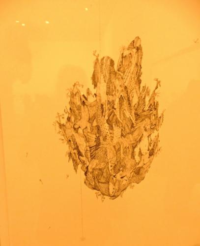 Lin Xue, Untitled, 2012, encre sur papier L'artiste chinois est présenté dans la même salle que la sculpture de l'artiste italien