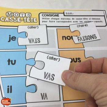 Un casse-tête de verbes courants, jeux de mots par Profs et Soeurs