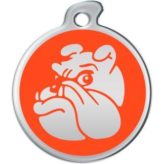 Hier können Sie eine runde Hundemarke mit stahlfarbener Bulldogge auf orangem Hintergrund sehen.