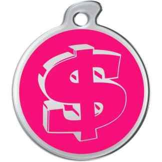 Billede af rundt hundetegn med sølvfarvet dollartegn på pink baggrund.