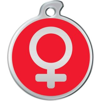 Billede af rundt hundetegn med sølvfarvet kvindetegn på rød baggrund.