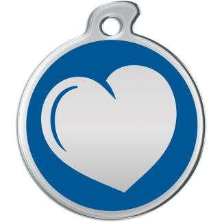 Image of around dog tag with heart on a blue background.