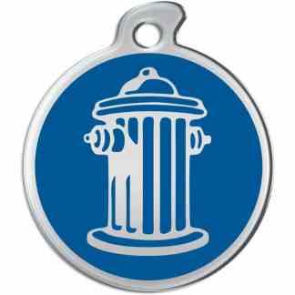 Bild des runden Hundezeichens mit Silber färbte Hydranten auf blauem Hintergrund.