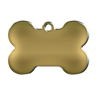 Picture dog tag made of brass shaped like a bone .