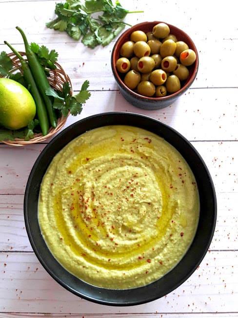 Creamy Homemade Cilantro Jalapeno Hummus