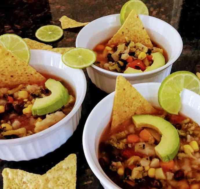 Healthy Vegetarian Tortilla Soup- Gluten Free | InstantPot