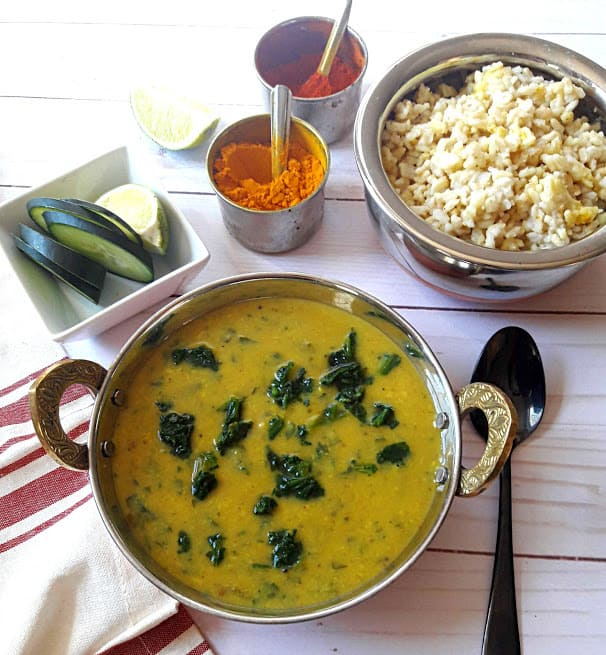 Dal Palak, Rice and Cucumber Slices serving a dinner