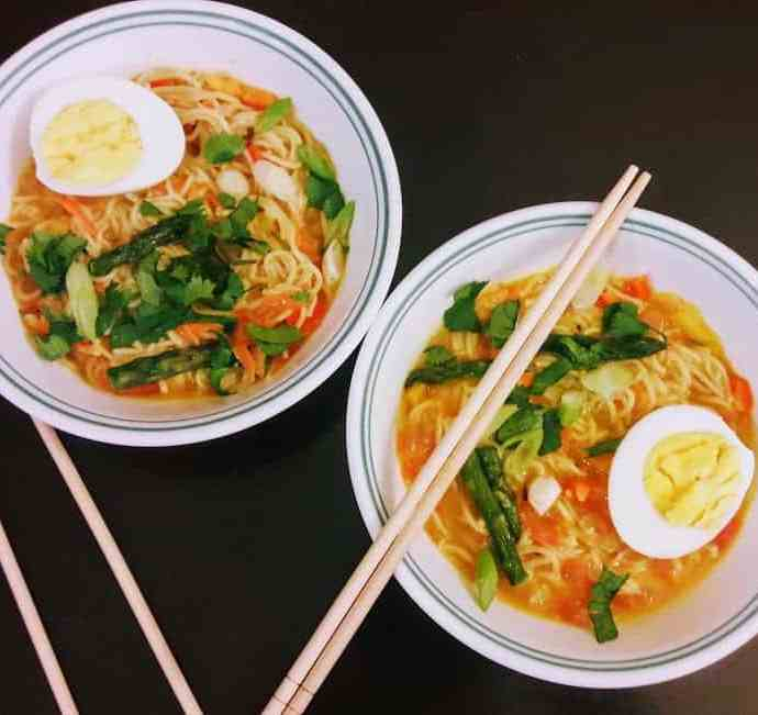 Spicy Rice Ramen Noodle Soup