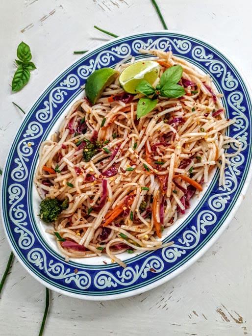 Rice Noodes with Rainbow Veggies Stir Fry