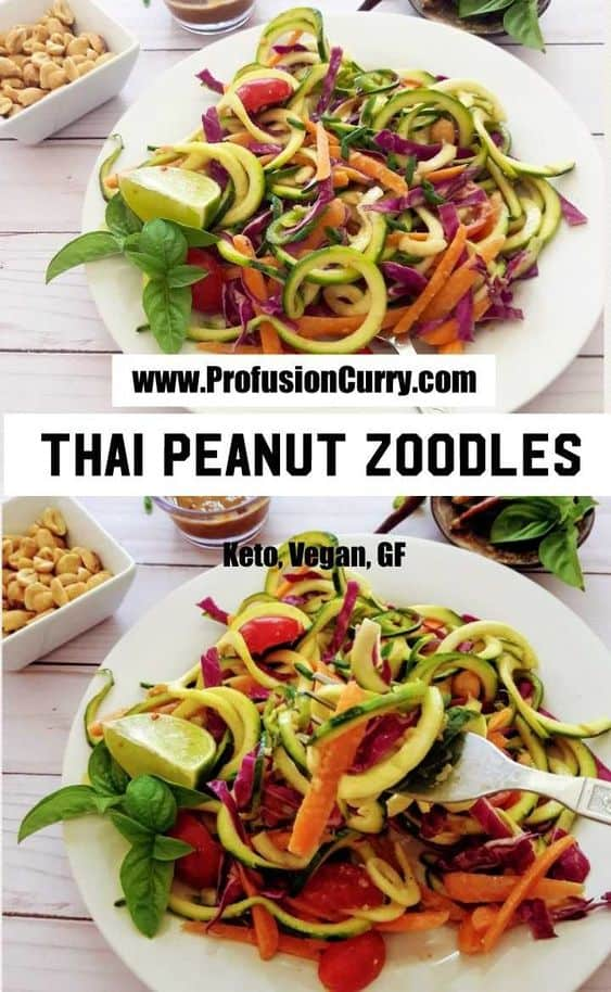 Thai Peanut Zoodles -Keto-Paleo
