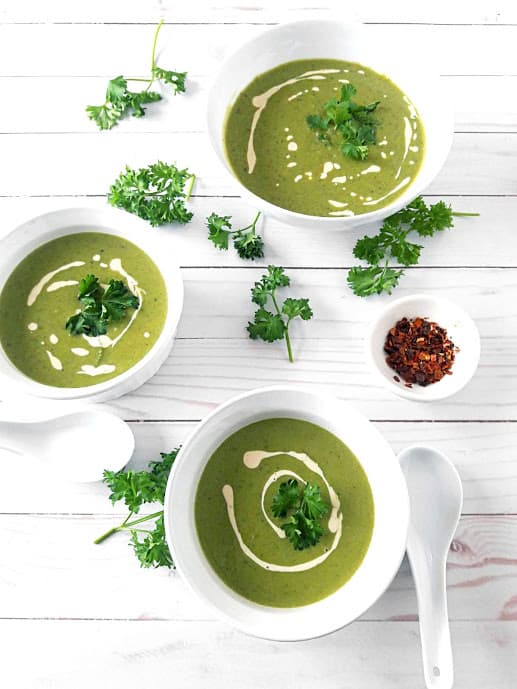 Green Peas and Mint Soup in a Serving bowls