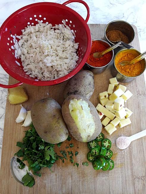 Cheesy Potato Popper ingredients on cutting board