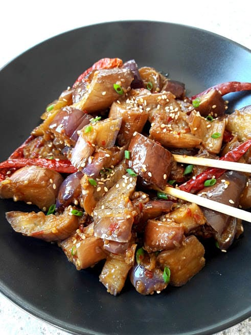Chinese Spicy Eggplant in Black plate