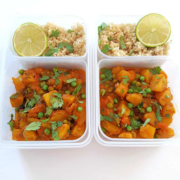 Aloo Matar and Quinoa Meal Prep
