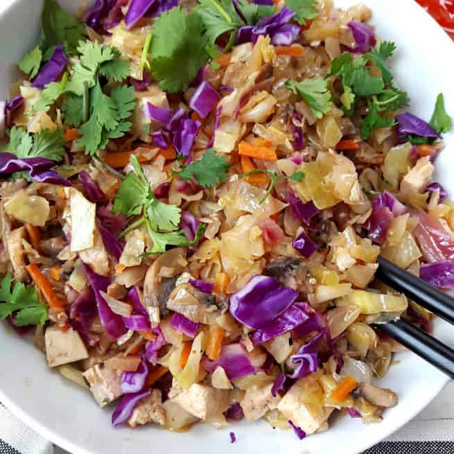 Vegetable eggroll bowl close up for texture