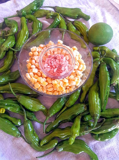Shishito Peppers and Corn Appetizer ingredients