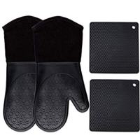 Homwe Silicone Oven Mitts and Potholders (4-Piece Sets), Kitchen Counter Safe Trivet Mats | Advanced Heat Resistant Oven Mitt, Non-Slip Textured Grip Pot Holders(Black)