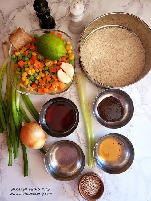 Display of ingredients to make Vegetarian Hibachi style fried rice.