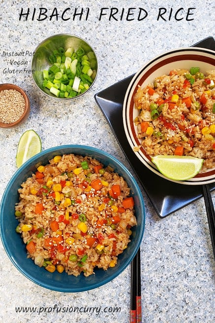 Instantpot Vegetable Hibachi fried rice is delectable and savory fried rice. This easy rice recipe is one pot wonder meal. #profusioncurry #friedrice #hibachirice