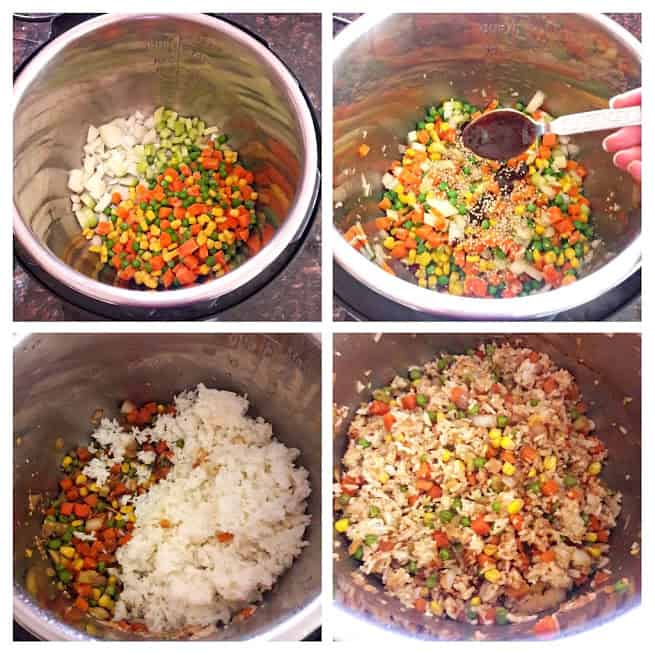 Image collage showing steps in making Hibachi style fried rice in Instantpot.