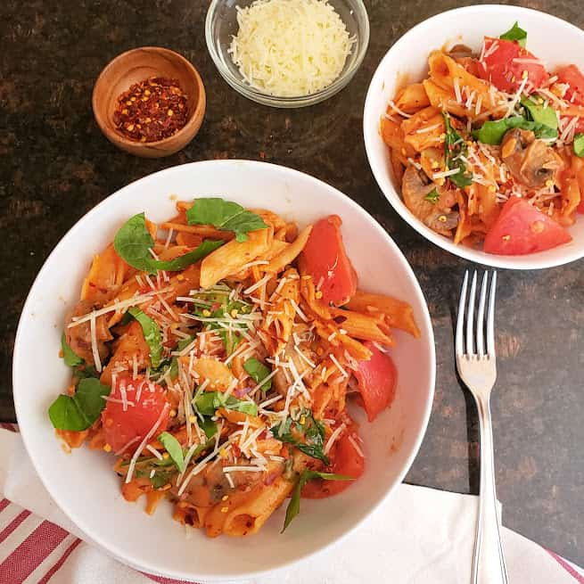 Instantpot pasta in tomato cream sauce is gourmet weeknight dinner recipe that can be made in one pot in 20 minutes.