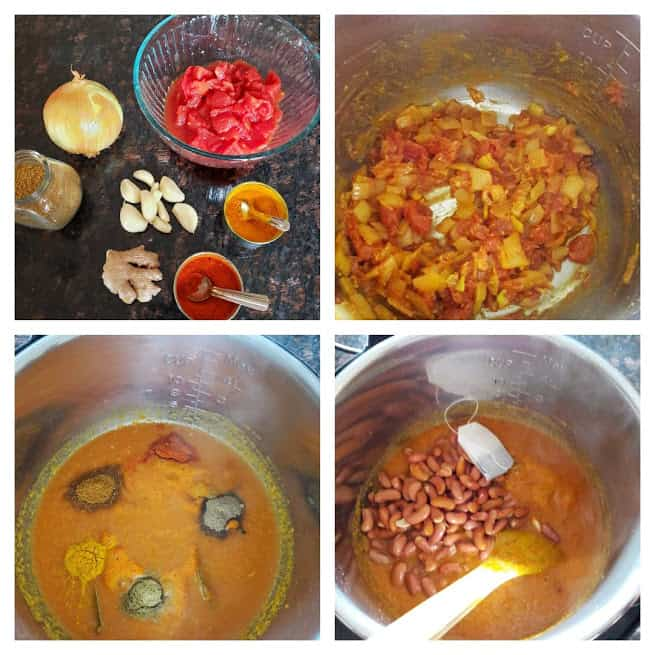 process shot collage displaying 4 major steps in making Rajma Curry in Instantpot.