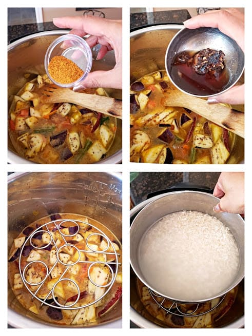 process step collage showing how to make rice and sambar in stackable containers in Instantpot or other electric pressure cooker.