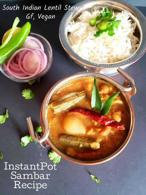 vegetable Sambar with rice served in copper containers pinterest image
