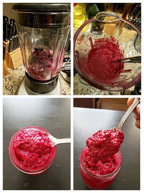 Process shot collage showing how to make beet pesto sauce.
