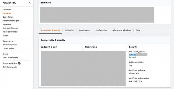 AWS PostgreSQL – TimeOut