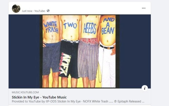 Как выглядит шеринг композиции из Youtube Music на Facebook