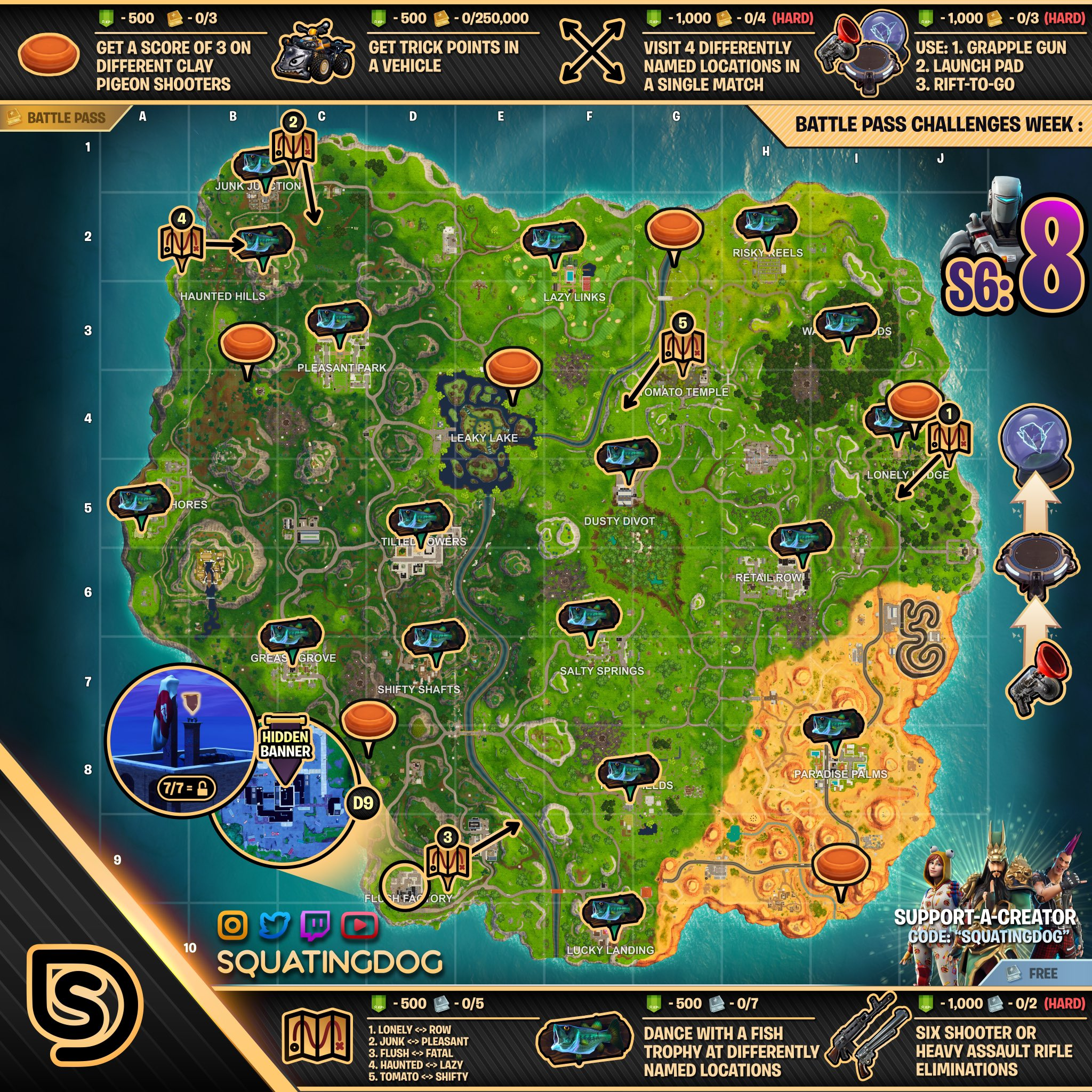 Fortnite Season 6 Week 8 Challenges List Cheat Sheet Locations Amp Solutions Pro Game Guides